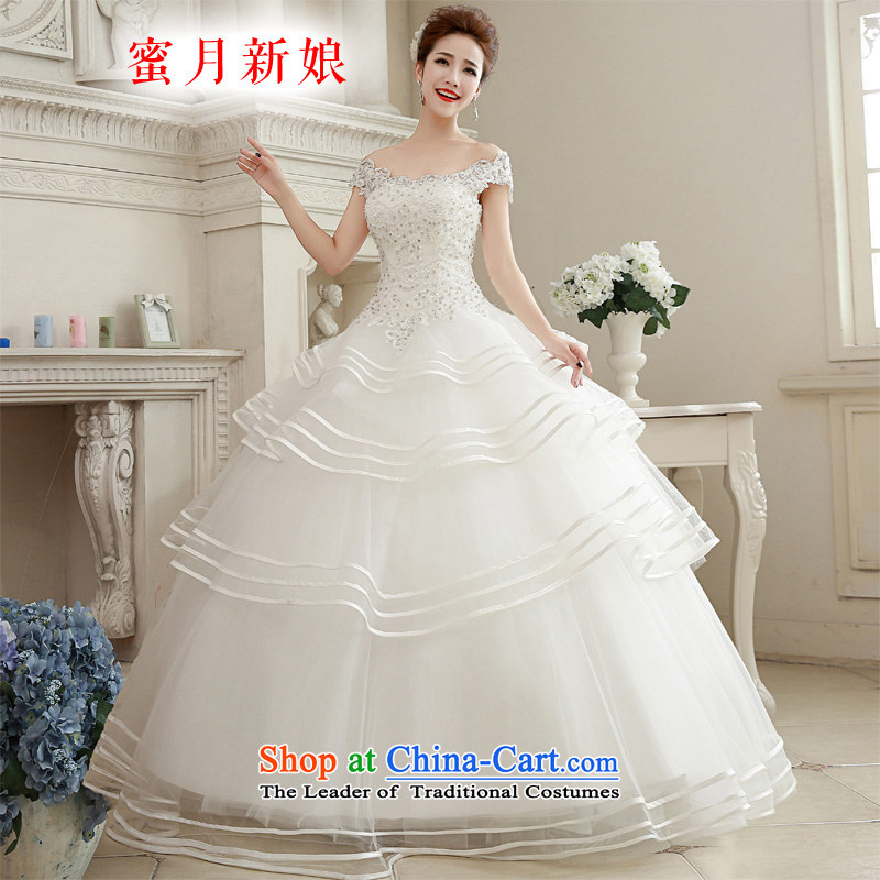The spring of 2015, the female bride honeymoon Korean lace diamond princess bon bon slotted shoulder wedding dresses to align the white M honeymoon bride shopping on the Internet has been pressed.