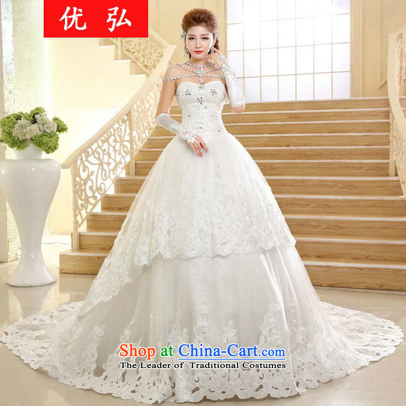 Optimize the   new 2015 Hong-marriages wedding dresses Sau San Video Korean thin stylish large tail anointed chest to hs004 XL