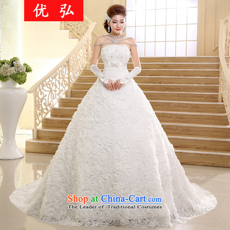 Optimize the?  new 2015 Hong-wedding dresses Korean fashion and chest tail drill marriages wedding video thin hs005 M