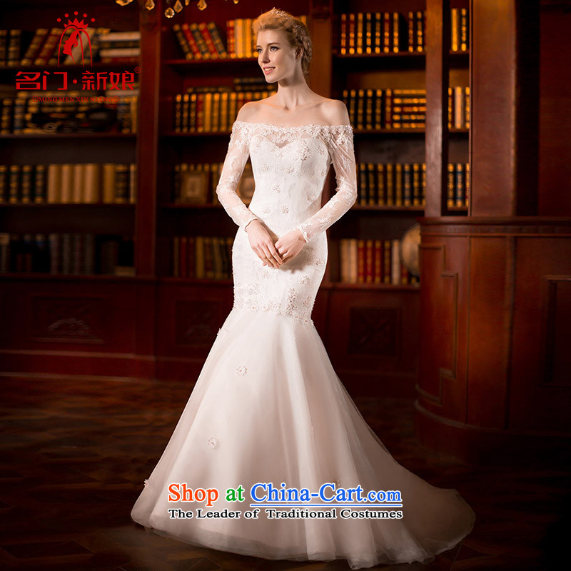 A Bride wedding dress the Word 2015 Spring shoulder long-sleeved crowsfoot wedding lace crowsfoot?2554?White?L