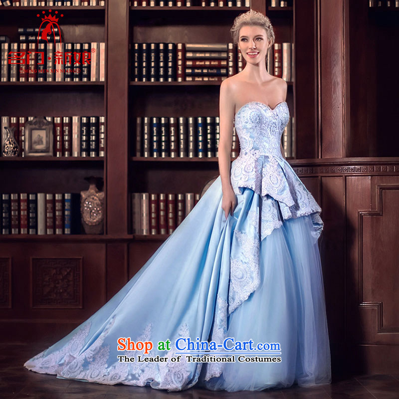 A Bride wedding dresses spring 2015 Cinderella dream wedding blue Tail 3,056 Blue L