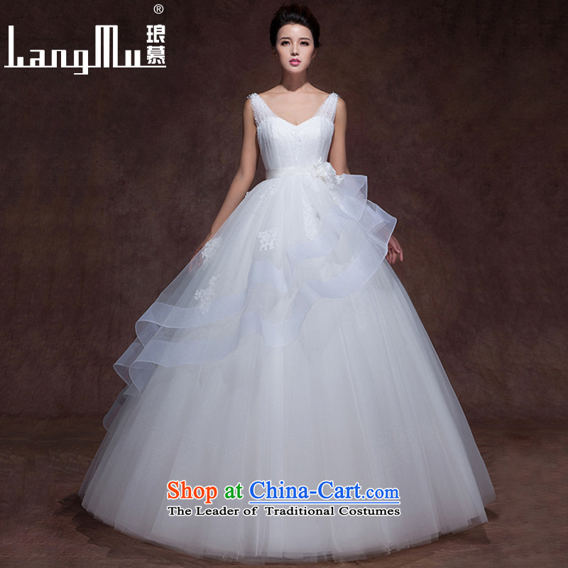 The year 2015 was a newlywed Luang wedding dresses V-neck in the elegant minimalist lace flowers straps bon bon align to winter clothing winter, wedding m White alignment of the funds from the Advanced Customization