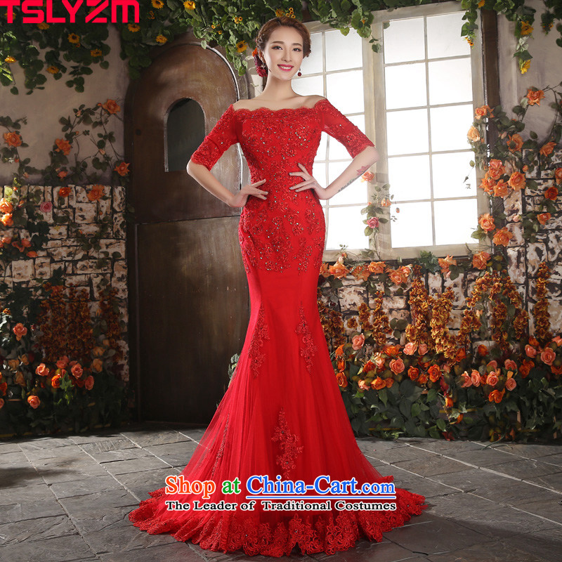 The word tslyzm shoulder crowsfoot wedding tail red autumn and winter 2015 new water drilling Foutune of Sau San video thin lace skirt female Red M