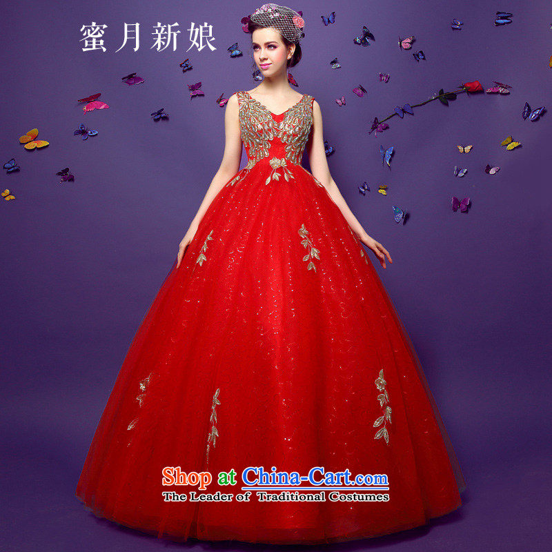 ?The spring of 2015, the bride honeymoon new female video and sexy thin dark V-Neck diamond pregnant women red wedding dresses to align the red?L