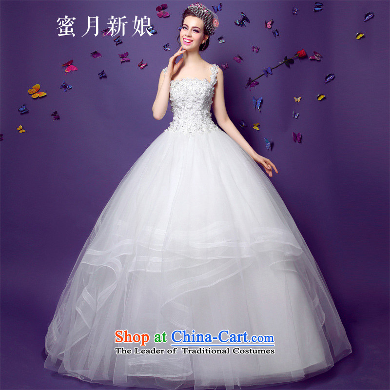 The spring of 2015, the bride honeymoon new female Foutune of video thin shoulders lace wedding marriage bride wedding White M