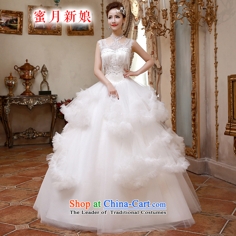 ?The spring of 2015, the bride honeymoon new girls retro-su lace clouds hang also wedding dresses to align the White?XL