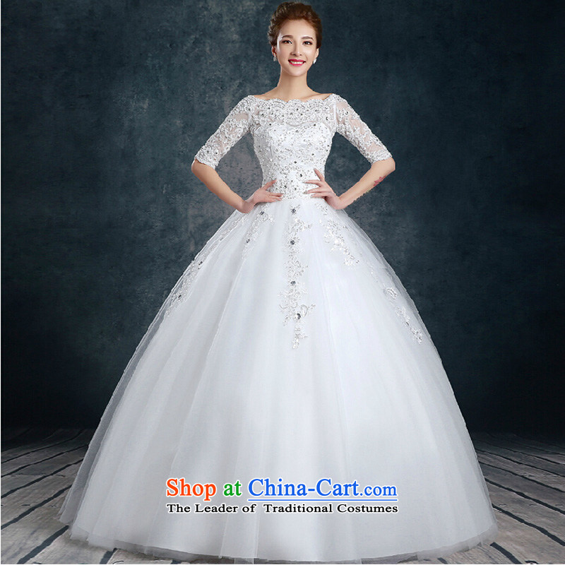 2015 new stylish shoulder the word wedding autumn and winter won with minimalist in cuff large Sau San bride wedding dresses white?L