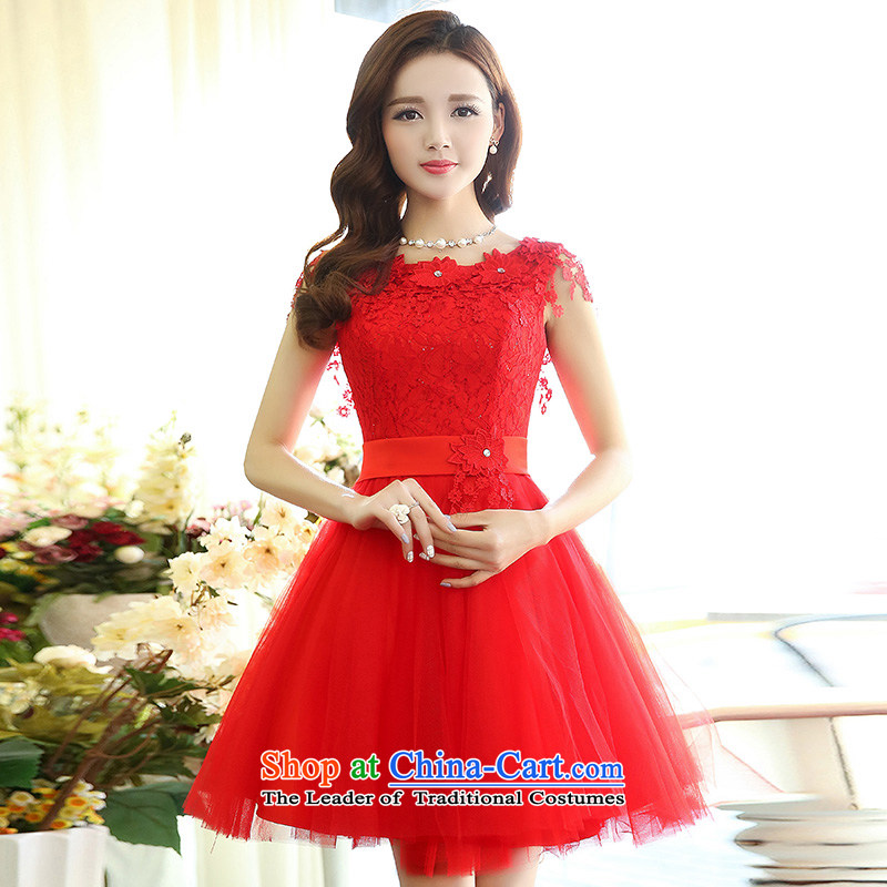 For the聽2015 Spring Dreams Of Korean version of Sau San viewed round-neck collar sleeveless style bon bon stylish wedding dresses skirt red聽L