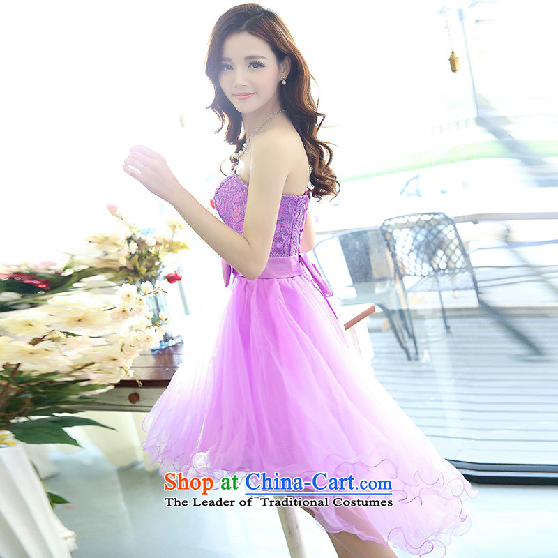 For?Spring 2015 dream new pure color lace sleeveless Sau San bare shoulders wedding package two kits pink?S