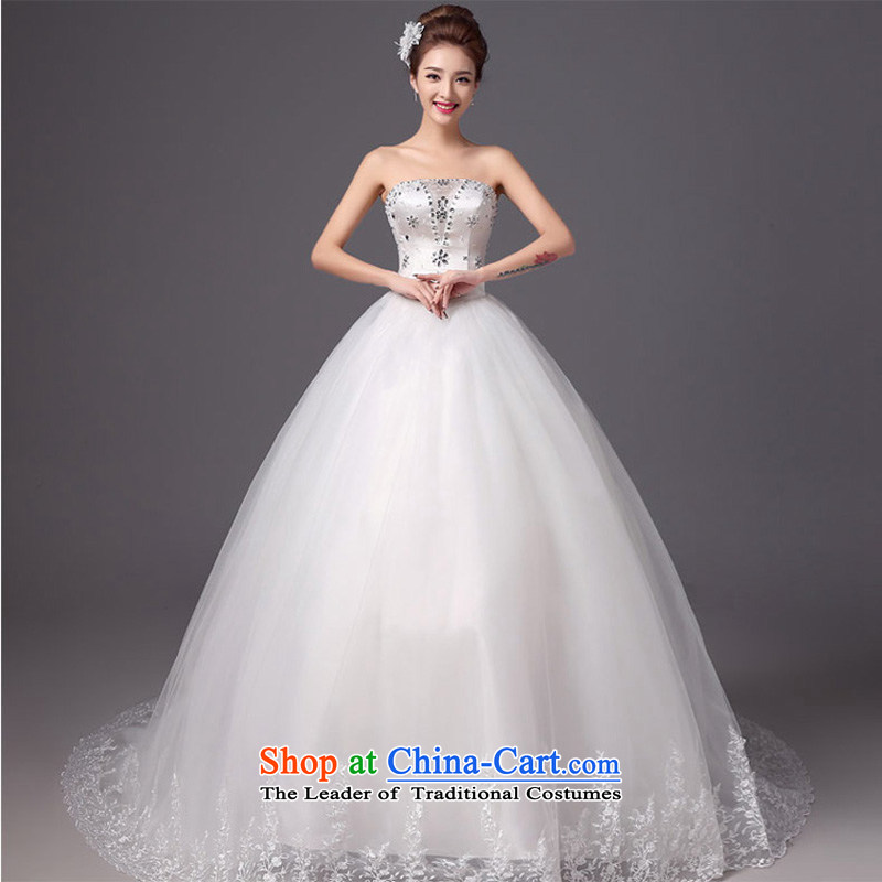 The autumn and winter 2015 new products new stylish wedding anointed chest tail bride wedding dresses Sau San video thin white tie, white S