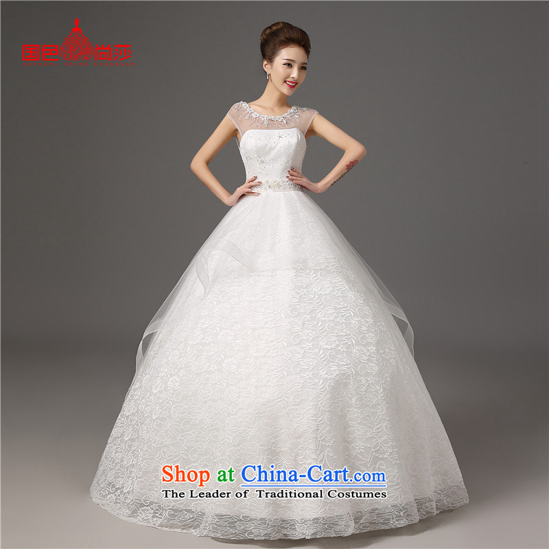 2015 Autumn and winter new stylish wedding shoulders tail bride wedding dresses Sau San video thin white tie, White?XXL