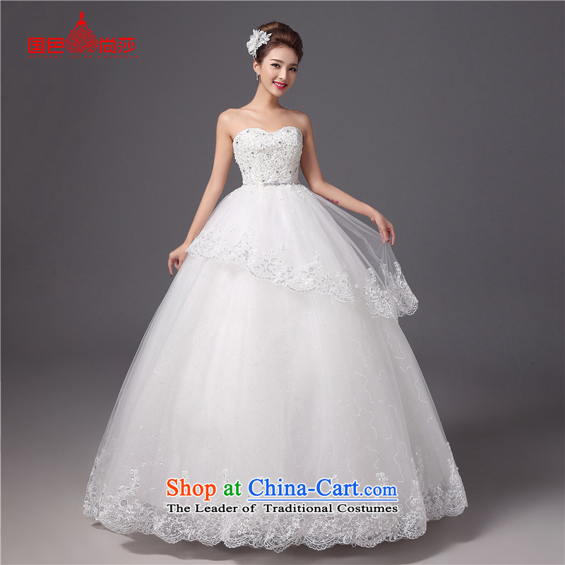 The autumn and winter bride anointed chest Wedding聽2015 new Korean style white to align the princess Sau San video thin wedding dresses white聽L