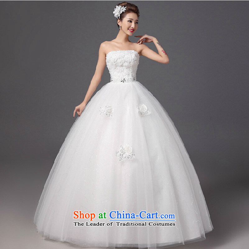 2015 Autumn and winter new flower anointed chest wedding dresses and stylish graphics thin bride align Sau San to wedding white?S