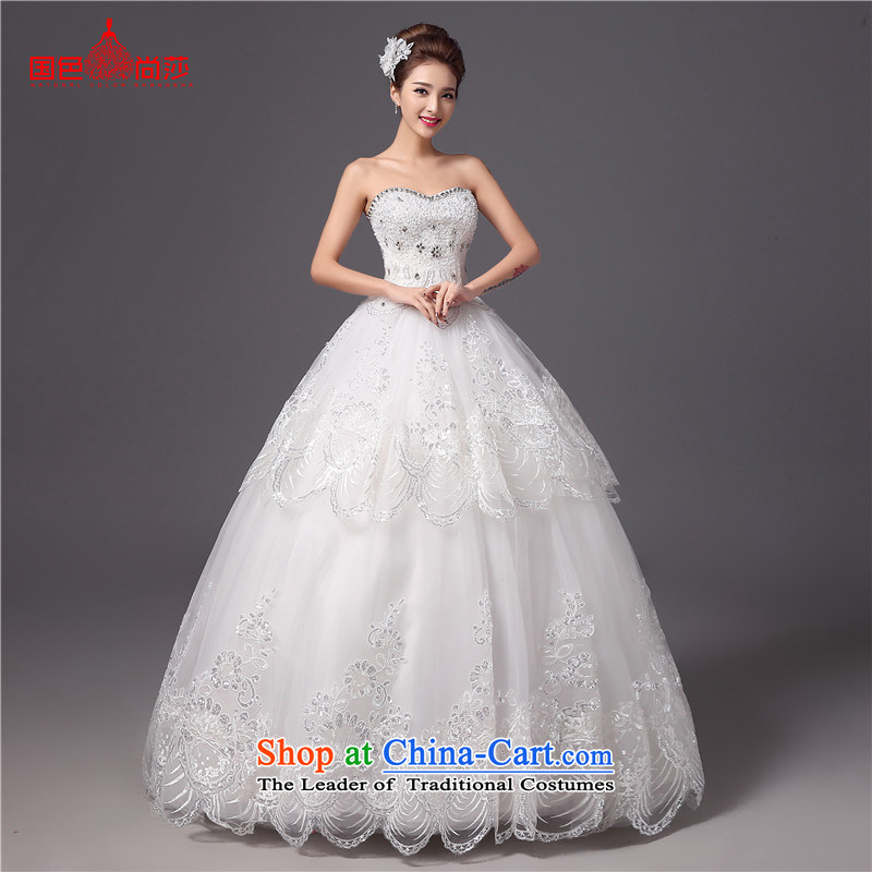 Summer wedding dresses 2015 new stylish autumn and winter Princess Mary Magdalene Chest Korean brides white wedding retro marriage yarn white?L