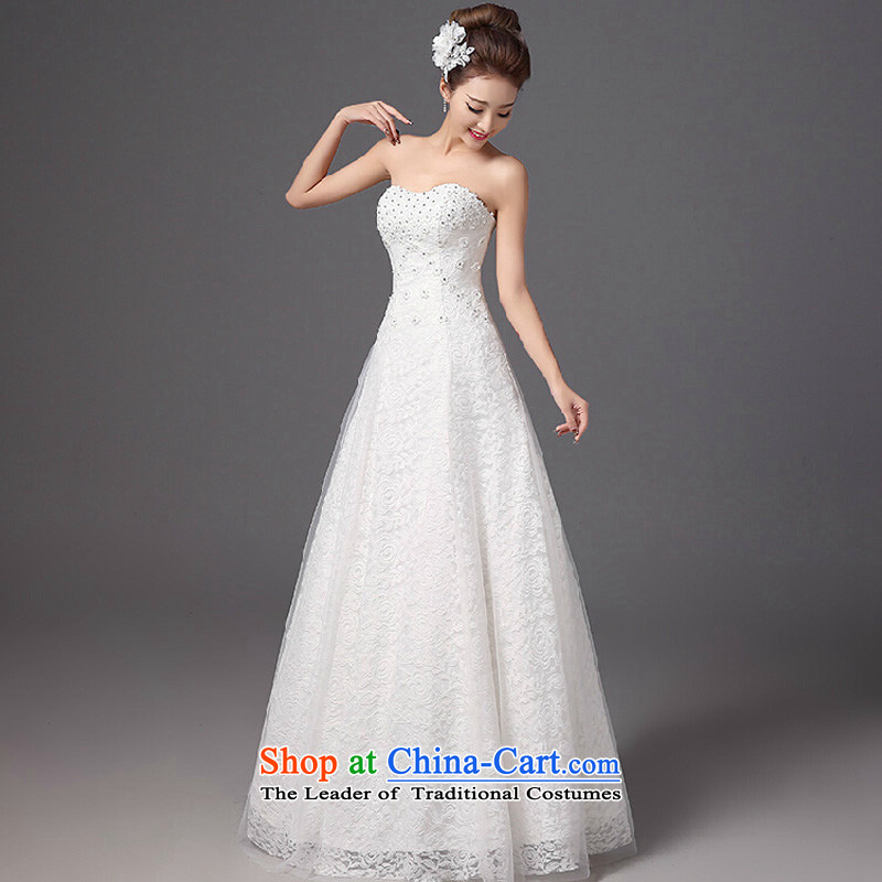 Wedding dresses new 2015 autumn and winter stylish bride anointed chest lace to align the large graphics thin Korean style with white聽S Sau San