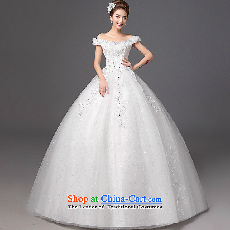 The color is Windsor bride wedding dresses autumn and winter 2015 new stylish Korean version of the word to align graphics thin shoulder larger wedding White?XL