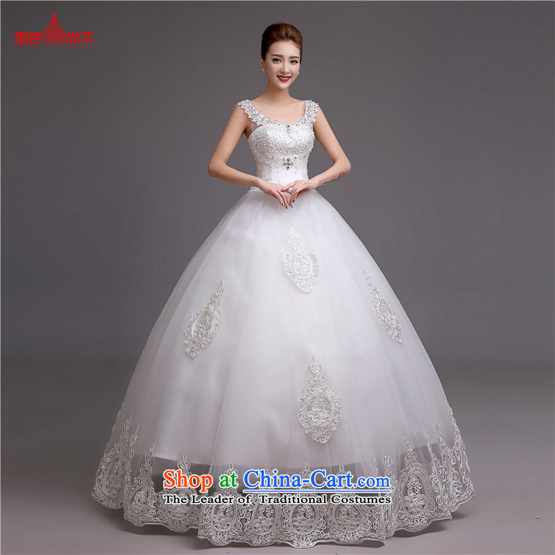 Video thin wedding dresses 2015 new autumn and winter and stylish chest Korean brides white wedding romantic retro marriage yarn white聽S