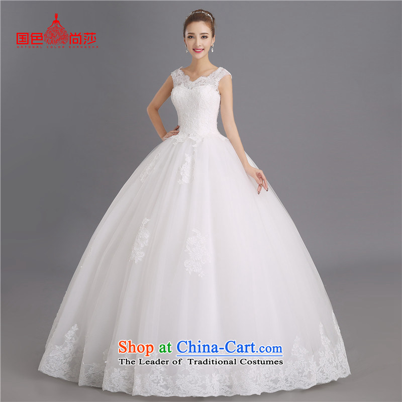 Summer irrepressible bride wedding dresses?2015 new stylish slotted shoulder straps to align the Sau San Wedding White?XXL