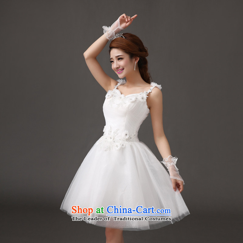 Qing Hua?2015 new bride yarn wedding fall short skirts bon bon toasting champagne evening dresses bridesmaid performances made under the auspices of dress white size does not accept return