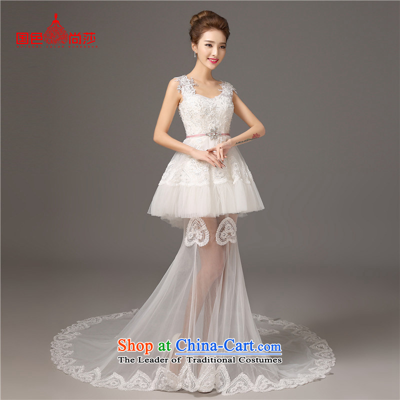 The color is sa 2015 Summer shoulders of new long tail wedding dresses, Sau San White?XXL