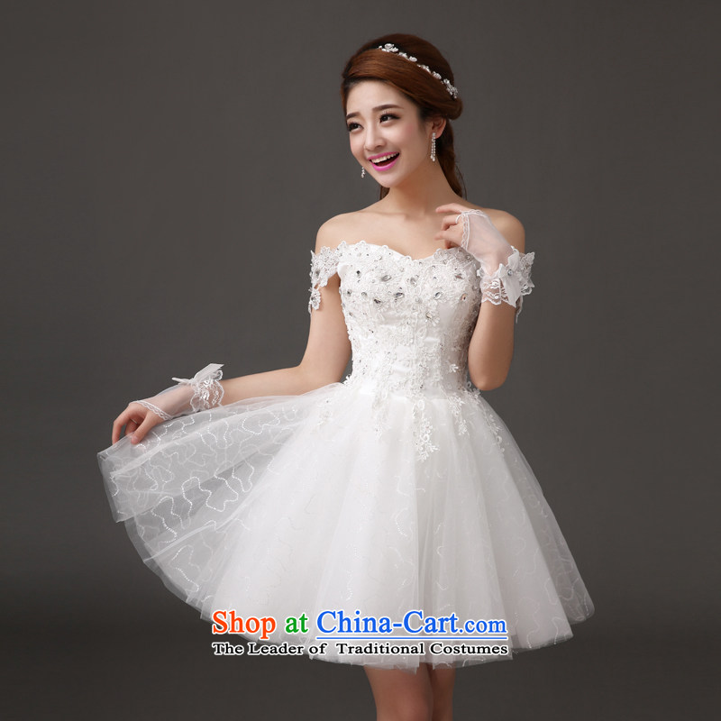 Qing Hua yarn elegant lace wedding dress bridesmaid bride wedding sweet princess wind graphics thin short,?2015 New white dresses made size does not accept return