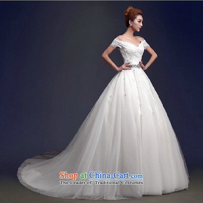 The first field shoulder wedding dresses smearing the new 2015 Korean fashion lace straps Sau San video thin diamond luxury huaqiu winter white streak of?XL
