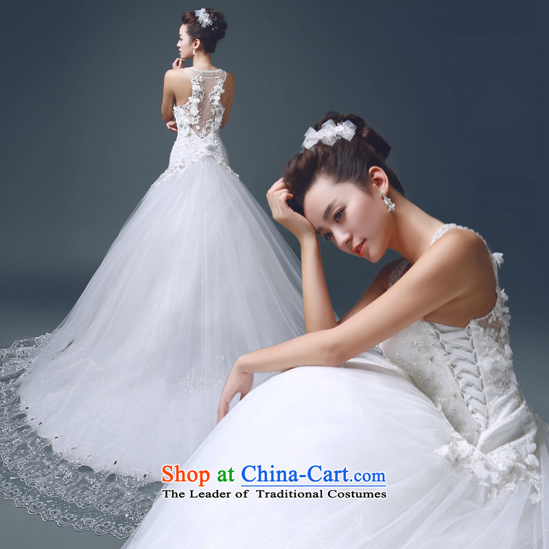 Noritsune bride聽2015 tail wedding elegant parquet drill lace anointed chest marriage Sau San Video Thin Dark V-Neck wedding electoral double-side straps, mindful of the flower- white聽L