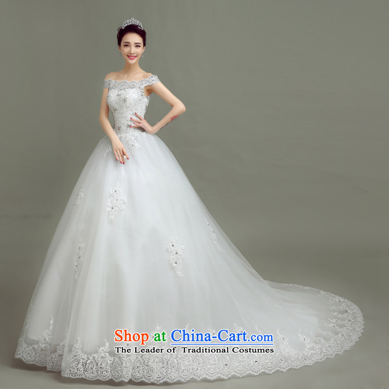 In accordance with the Netherlands varies with the wedding dress in spring and summer 2015 new word shoulder tail wedding Korean to align the minimalist larger custom bride wedding dresses White聽M