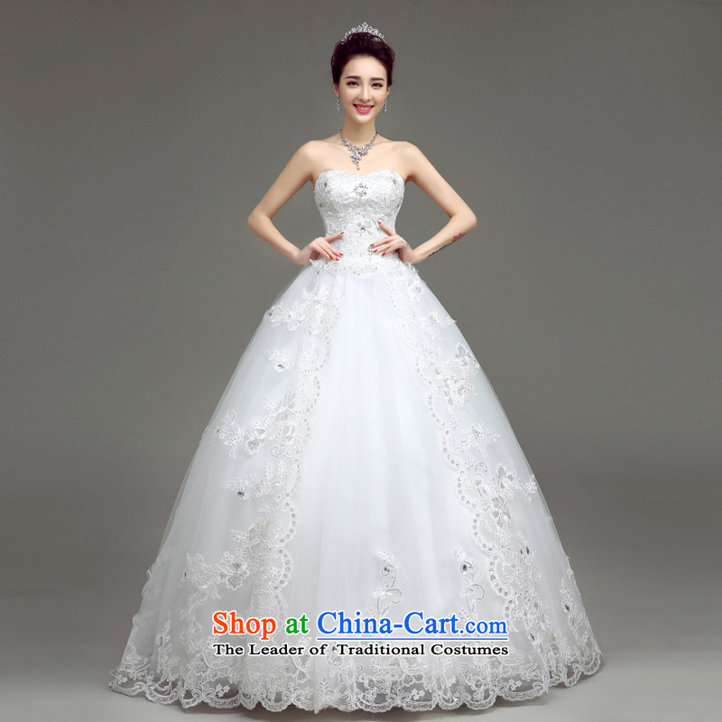 In accordance with the Netherlands varies with the wedding dress 2015 to align the new white wedding in spring and summer Korean wiping the chest straps for larger lace custom bride wedding dresses White?XL