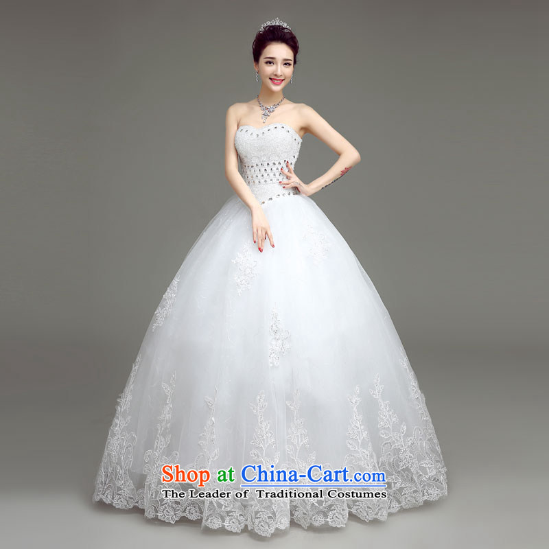 In accordance with the Netherlands varies with the Korean version of wedding dresses and chest straps princess white wedding?2015 Spring/Summer New Sau San video thin stylish diamond wedding dresses bride white?S