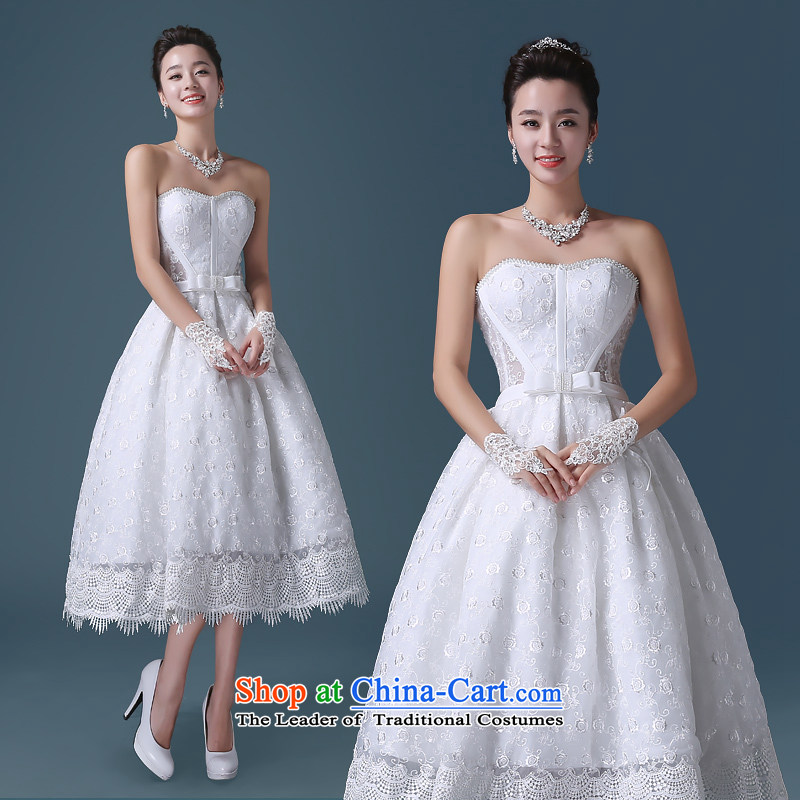 Noritsune bride?2015 Short wedding dresses Korean white spring and summer lace anointed chest Sau San lace A Wedding dress (Korean Hanbok, exquisite craftsmanship- white?S