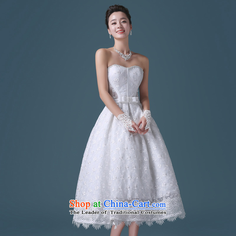 Noritsune bride聽2015 Short wedding dresses Korean white spring and summer lace anointed chest Sau San lace A Wedding dress (Korean Hanbok, exquisite craftsmanship聽, white noritsune 銆� bride shopping on the Internet has been pressed.