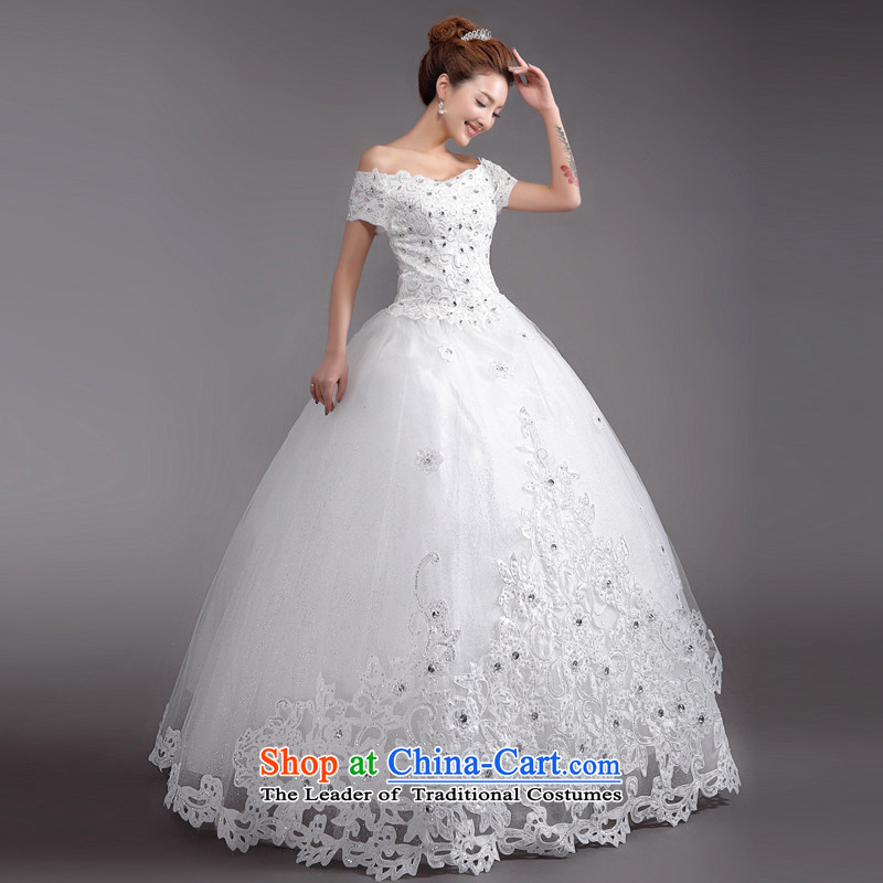 (Heung-lun's health marriages wedding dresses of the Word 2015 new stylish shoulder Korean Version to align the large thin winter wedding white?L