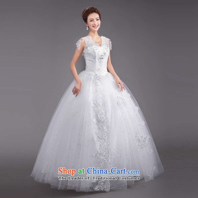 _Heung-lun's Health 2015 new Korean fashion shoulders to align the V-Neck bride Sau San video thin lace retro large white wedding white?L