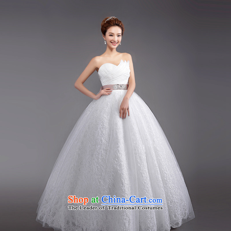 (Heung-lun's Health 2015 new photo building wedding dresses Korean anointed chest to the Princess Bride wedding code strap wedding White?XXL