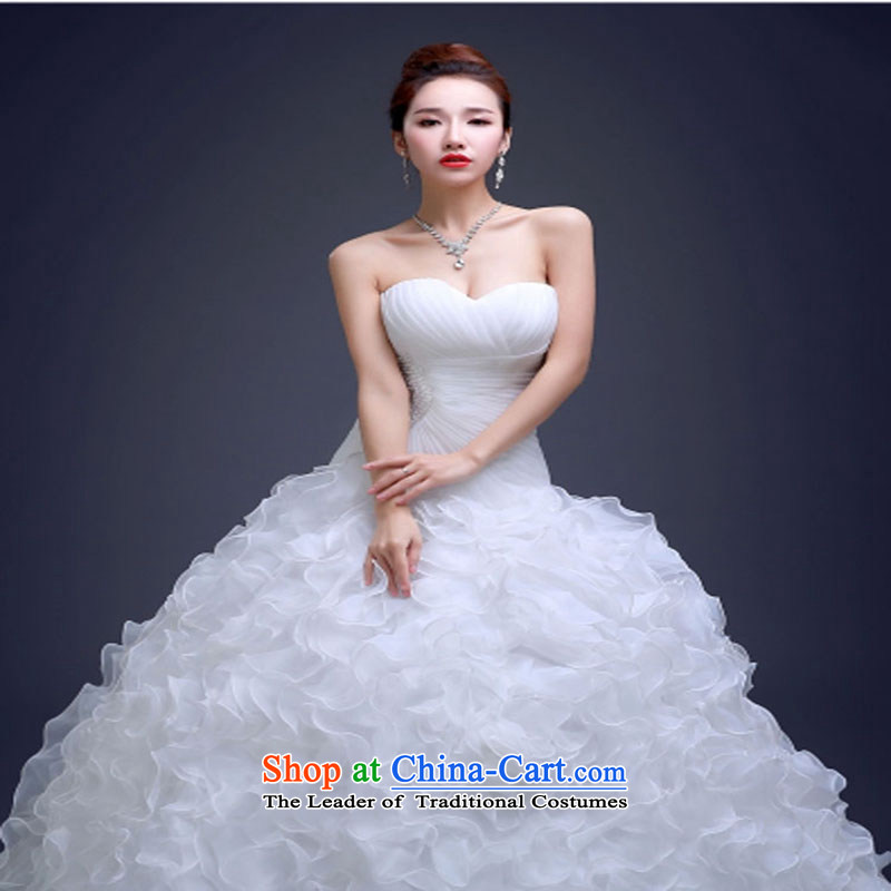 With a Chinese wedding dress 2015 Korean modern long tail wipe-video thin princess chest bon bon skirt bride wedding dress skirt yarn crowsfoot over a long period of White聽XXL