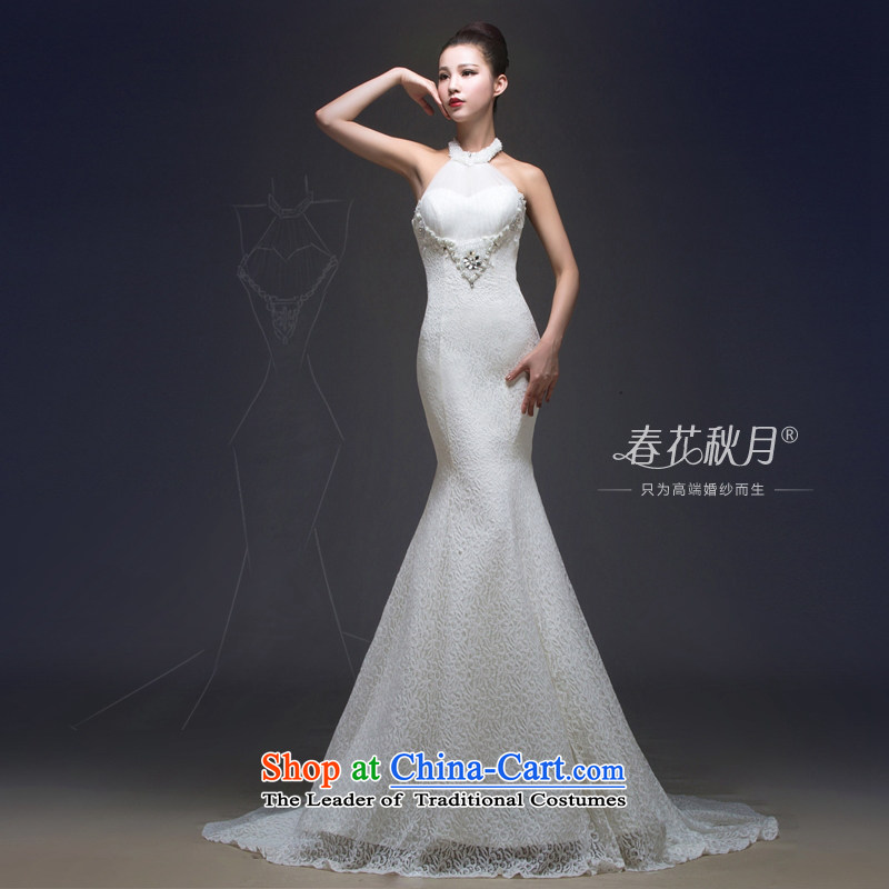 Mount also tail crowsfoot wedding dresses 2015 new lace of pockets and back strap diamond out of autumn White?XL