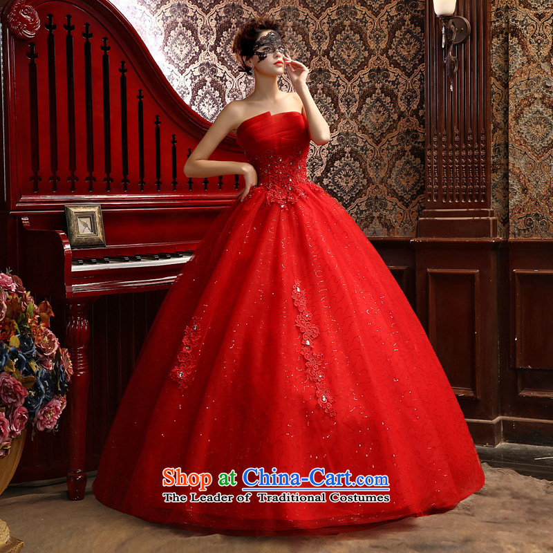 Su Xiang Edge聽2015 new red anointed chest to align the stylish wedding marriages white video thin wedding dresses bon bon skirt red聽S