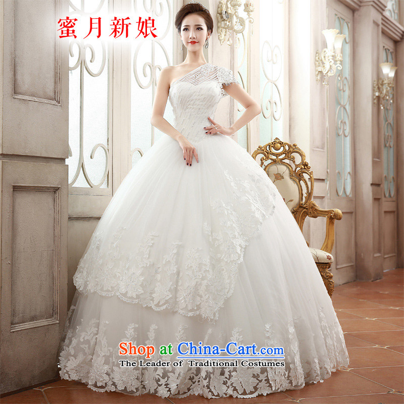 Honeymoon bride聽 spring and summer 2015 New Product Video thin lace shoulder wedding dresses align to bind with Princess Diamond Wedding white聽S