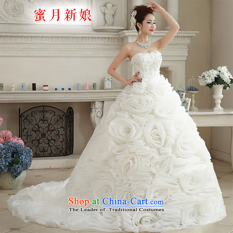 ? The spring of 2015, the bride honeymoon new minimalist wiping the chest female romantic wedding flower trailing petticoats white?S