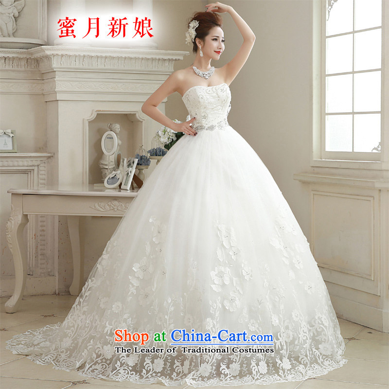 ? The spring of 2015, the bride honeymoon new minimalist wiping the chest female diamond lace tail wedding dresses white?S