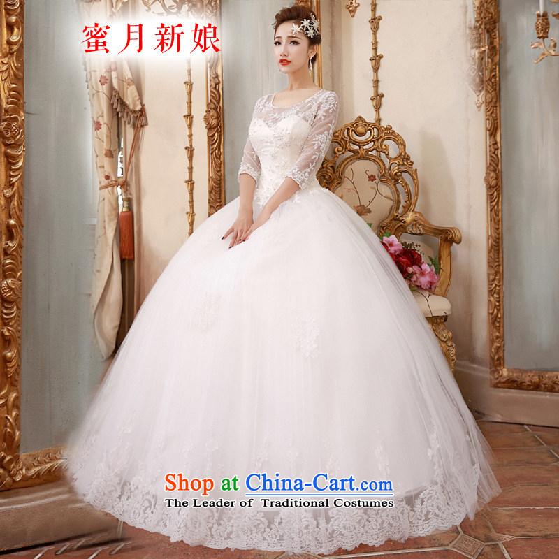 ?The spring of 2015, the female bride honeymoon Korean Foutune of Sau San long-sleeved lace bon bon princess wedding White?M