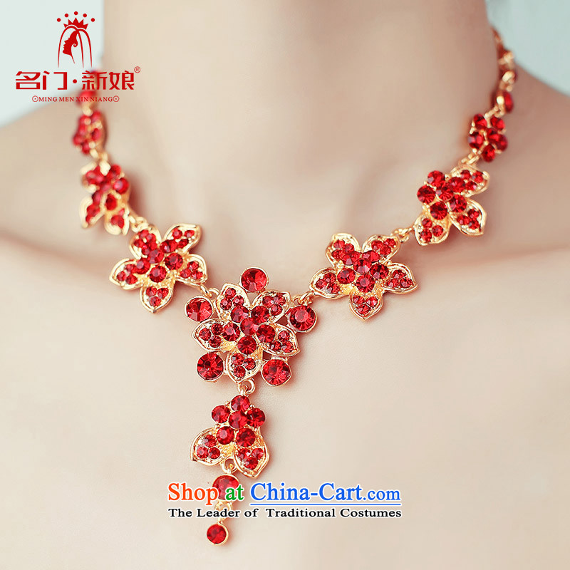 A Bride wedding dresses accessories bride necklace luxury drill red/Silver 113 red