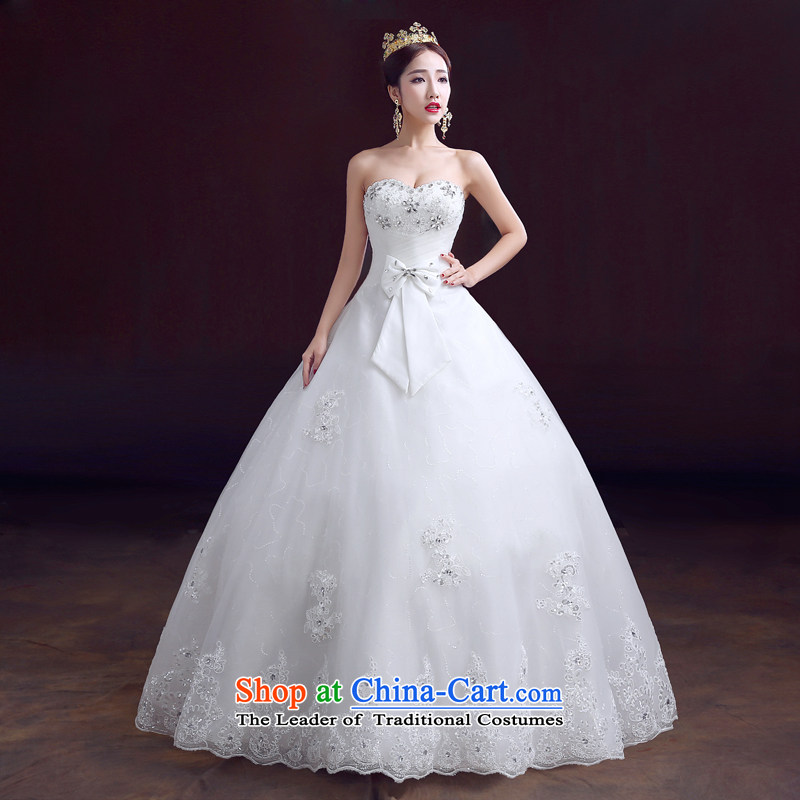 The dumping of the wedding dress wedding dresses new 2015 spring wiping the chest is aligned to bind with drill video thin Foutune of wedding white S