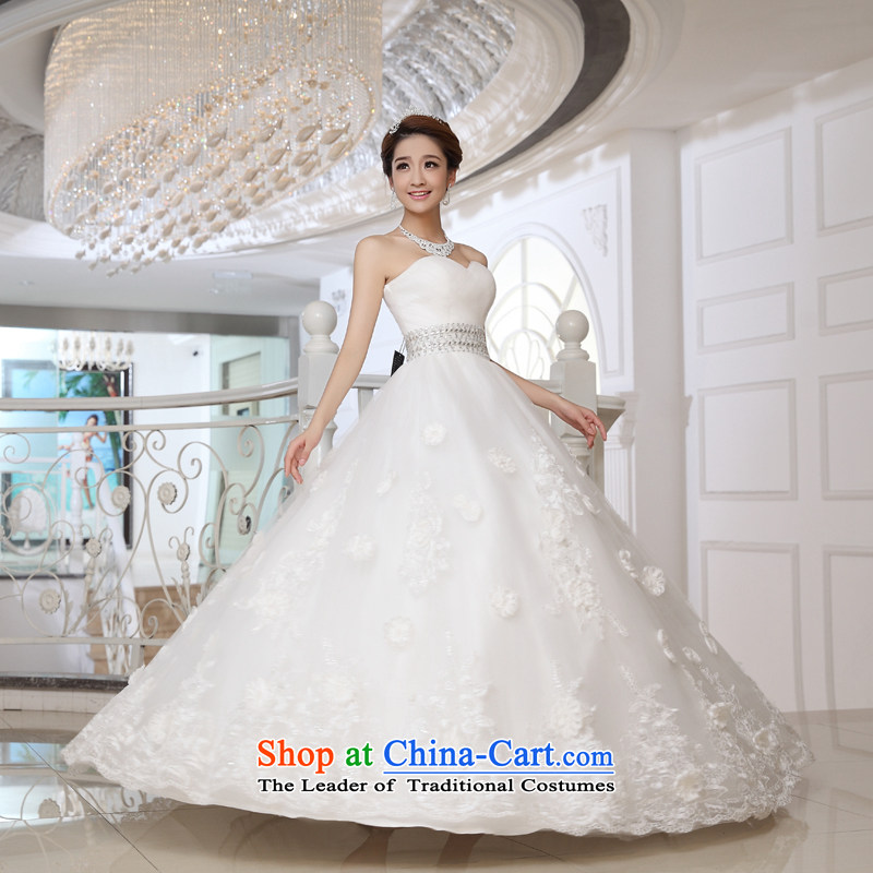 Wedding dress 2015 autumn and winter new anointed Chest Flower to bind a Graphics alignment thin new products to align the Korean Bridal Suite White�XS