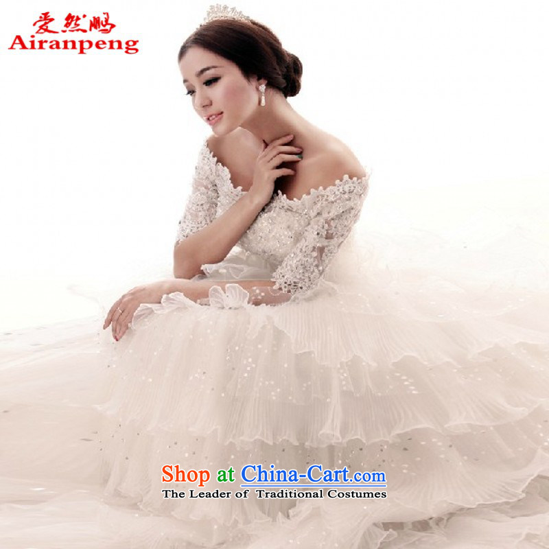 The new Word 2015 shoulder upscale wedding dresses lace video thin Sau San tail lights of diamond ornaments Chip 7 cuff strap? 1.5 m tail?XL package returning