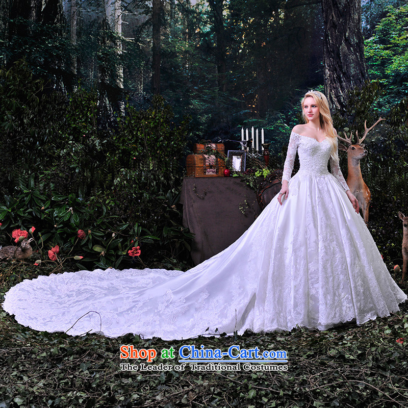 Full Chamber Fong wedding dresses new 2015 spring wiping the chest wedding lace to align the word shoulder white streak?S853 custom?white streak?165-XL 1 m