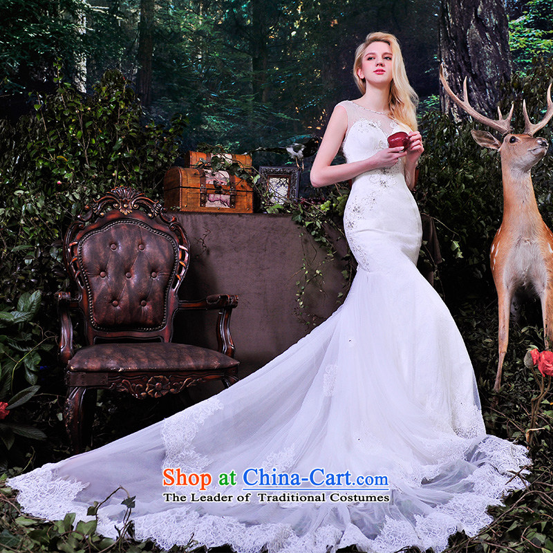 Full Chamber?of the spring and summer of 2015, Fang bride wedding dresses package shoulder lace sexy back crowsfoot wedding trailing?white streaks S832 60cm 165-L