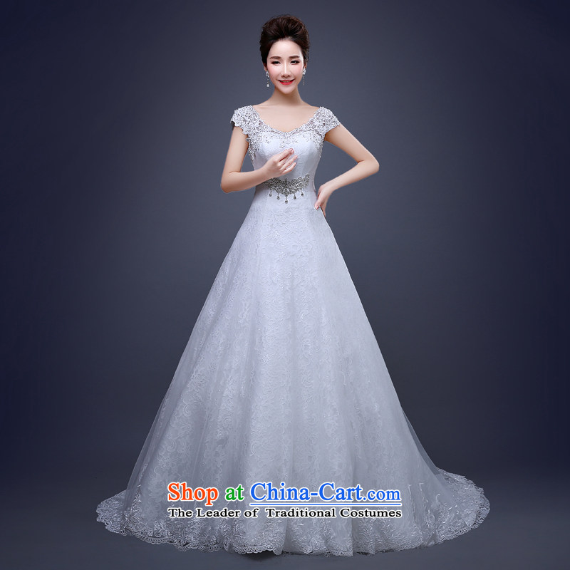 Jie Mia聽in spring and summer 2015 new wedding dresses crowsfoot bows to marry her dress and tail marriage bride wedding White聽M