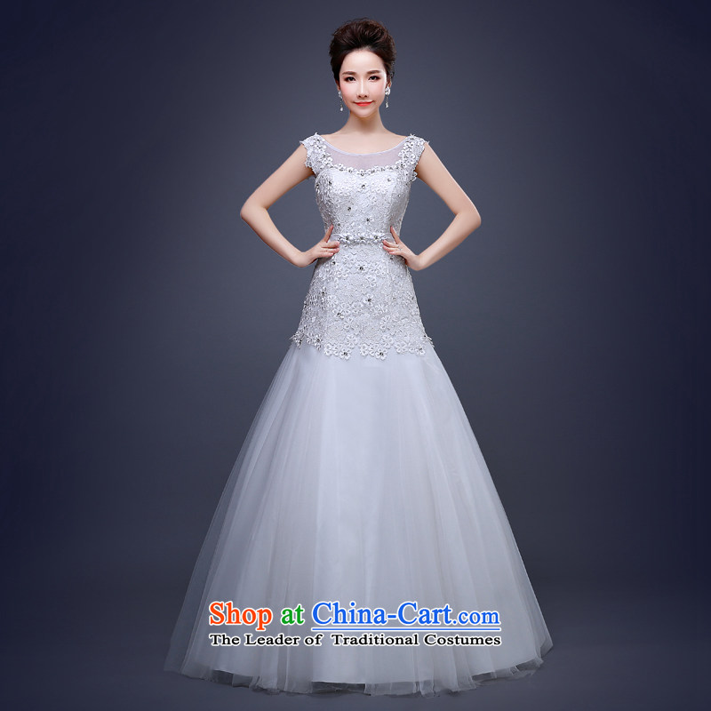 Jie Mia in spring and summer 2015 new wedding dress bows to marry tail married women shoulder a White XXL